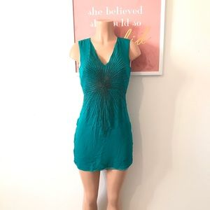 Parker Beaded Teal Dress